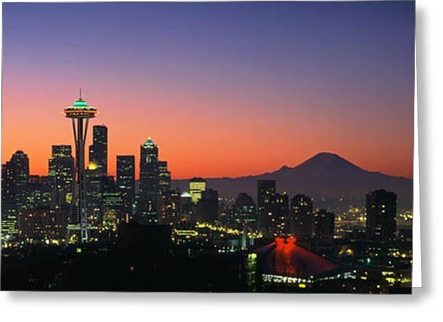 Seattle Skyline At Dawn Greeting Card