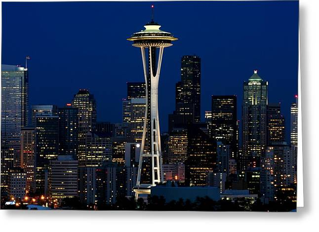 Seattle Skyline At Night Greeting Card by Jetson Nguyen