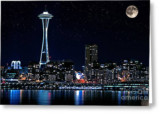 Seattle Skyline At Night With Full Moon Greeting Card by Valerie Garner