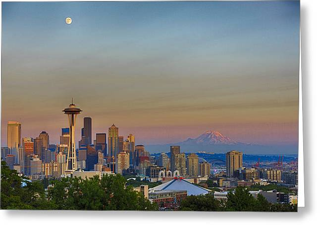 Seattle Skyline At Sunset Hdr Greeting Card by Scott Campbell