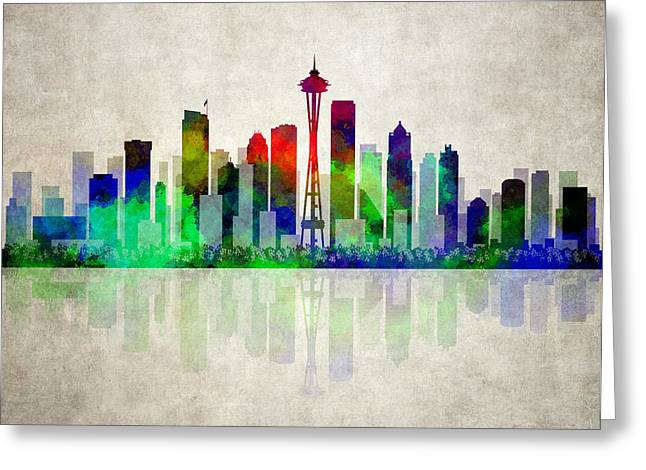 Seattle Skyline Greeting Card by Daniel Hagerman