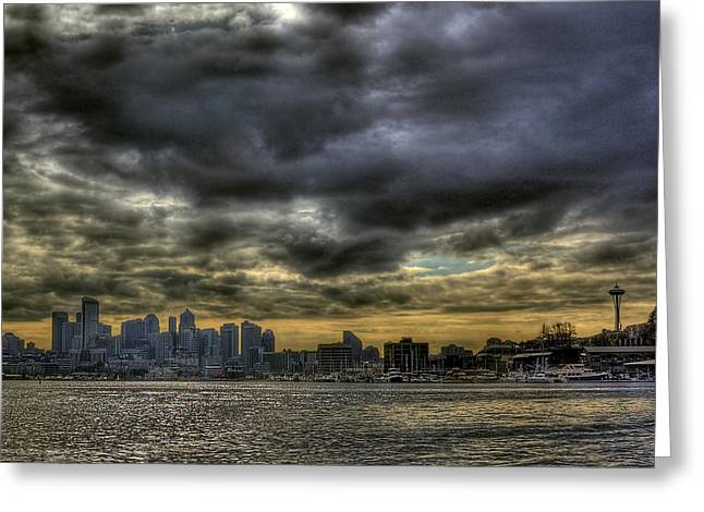 Seattle Skyline Greeting Card by David Patterson