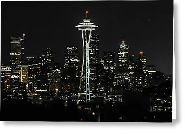 Seattle Skyline From Kerry Park Greeting Card by CarolLMiller Photography