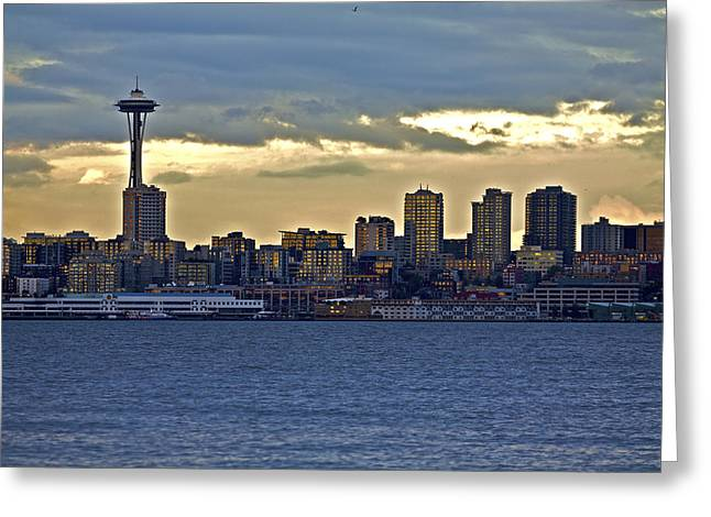Seattle Skyline In Twilight Greeting Card