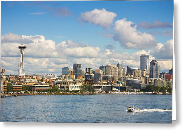 Seattle Skyline Greeting Card by Janis Knight