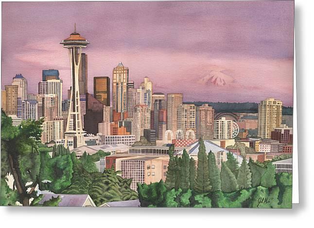 Seattle Skyline Greeting Card by Josh Marks
