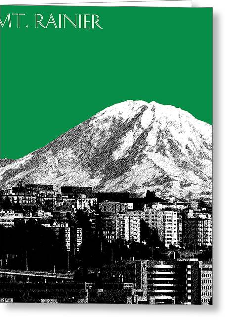 Seattle Skyline Mt. Rainier - Forest Green Greeting Card