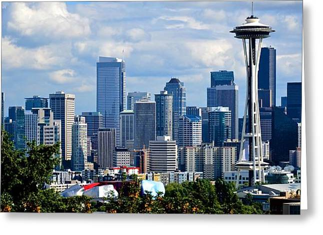 Seattle Skyline Panorama Greeting Card