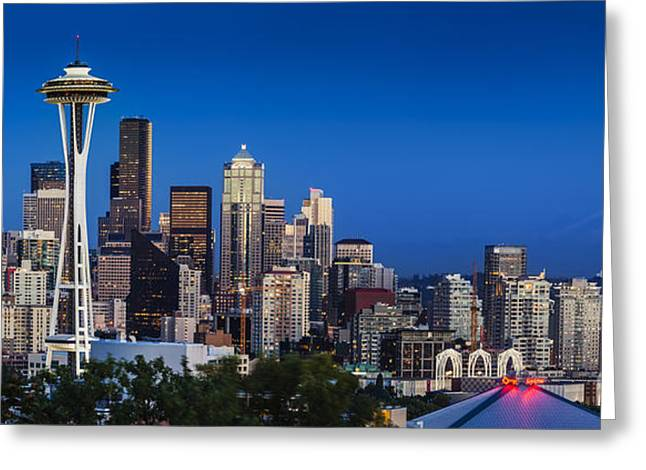 Seattle Skyline Panoramic Greeting Card