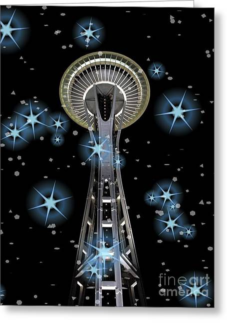 Greeting Card featuring the digital art Seattle Space Needle Blue Stars by Chalet Roome-Rigdon