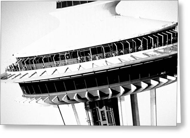 Greeting Card featuring the photograph Seattle Space Needle Close Up by Amy Giacomelli