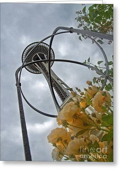 Greeting Card featuring the photograph Seattle Spaceneedle With Watercolor Effect Yellow Roses by Valerie Garner