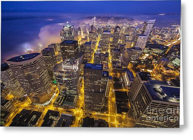 Seattle Sunrise Fog Greeting Card by Mike Reid