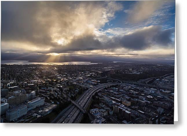 Seattle Sunrise Sunrays Greeting Card by Mike Reid