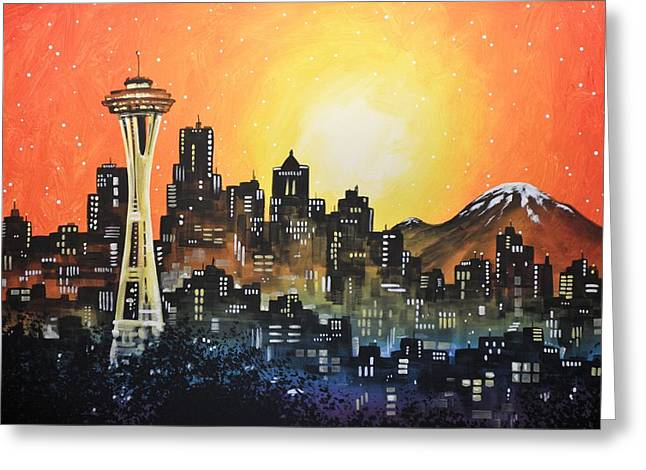 Greeting Card featuring the painting Seattle Sunset by Amy Giacomelli