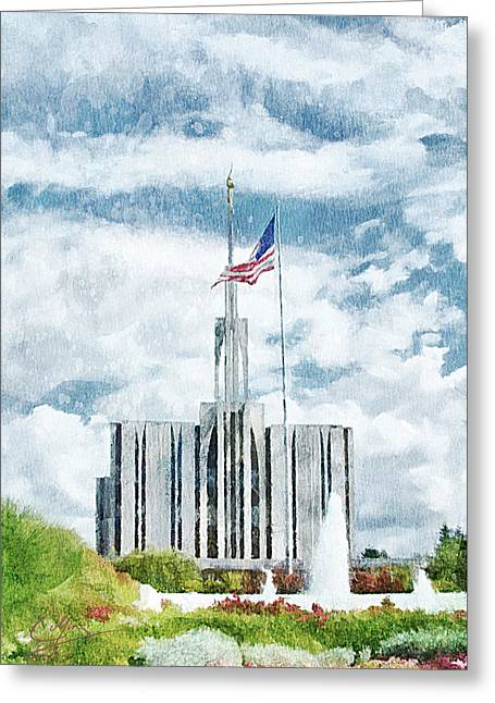 Greeting Card featuring the painting Seattle Temple 1 by Greg Collins