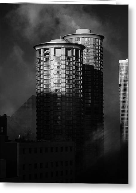 Seattle Towers Greeting Card by Paul Bartoszek