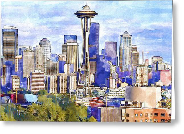 Seattle View In Watercolor Greeting Card by Marian Voicu