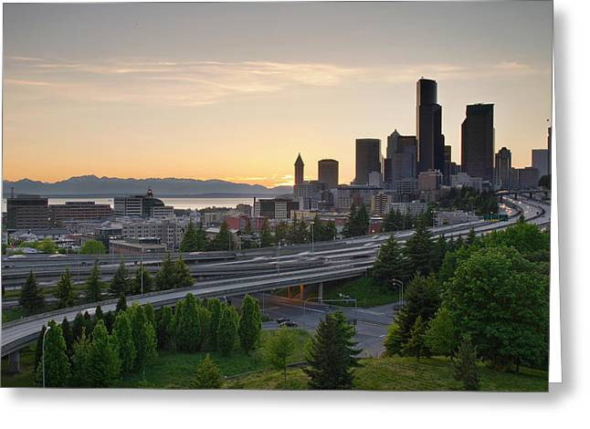 Greeting Card featuring the photograph Seattle Washington Downtown City Sunset by JPLDesigns