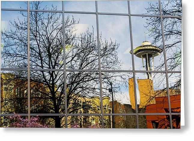 Seattle Washington Space Needle Reflection Greeting Card by Michael DeMello