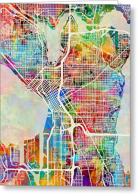 Seattle Washington Street Map Greeting Card
