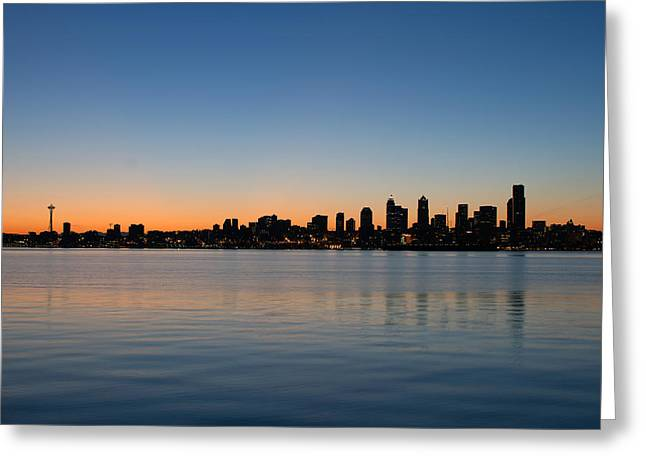 Greeting Card featuring the photograph Seattle Washington Waterfront Skyline At Sunrise Panorama by JPLDesigns