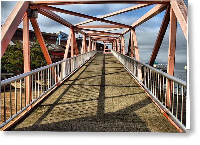Greeting Card featuring the photograph Seattle Waterfront Bridge by Bob Noble Photography