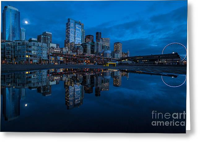 Seattle Waterfront Reflection Greeting Card