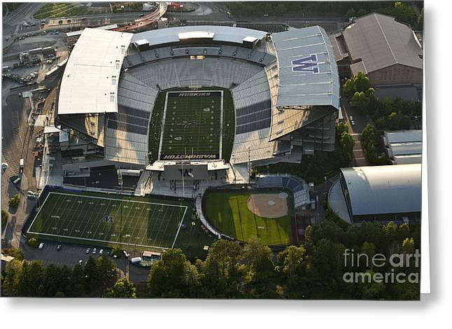 Seattle With Aerial View Of The Newly Renovated Husky Stadium Greeting Card