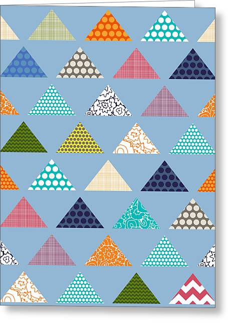 Seaview Triangles Blue Greeting Card by Sharon Turner