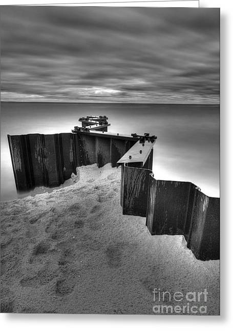 Seawall In Black And White Greeting Card