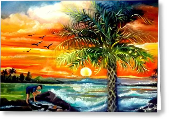 Seawaves Sunset In Tampa Greeting Card