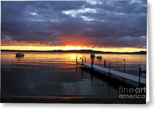 Sebago Lake Sunset Greeting Card by Butch Lombardi