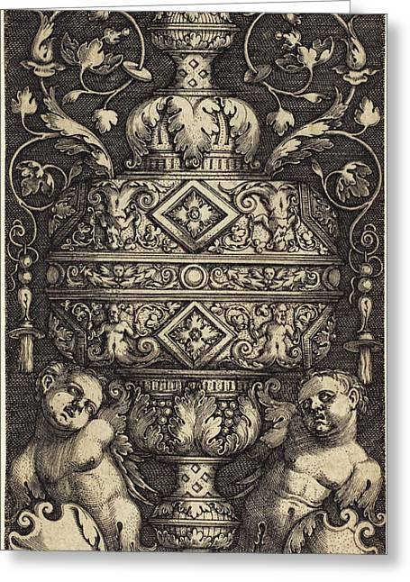Sebald Beham German, 1500 - 1550, Double Goblet Greeting Card by Quint Lox