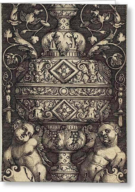 Sebald Beham German, 1500 - 1550, Double Goblet Greeting Card by Quint Lox
