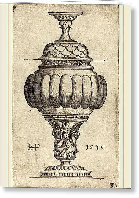 Sebald Beham German, 1500-1550, Double Goblet With Oval Greeting Card by Litz Collection