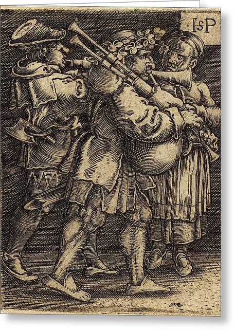 Sebald Beham German, 1500 - 1550, Two Street Players Greeting Card