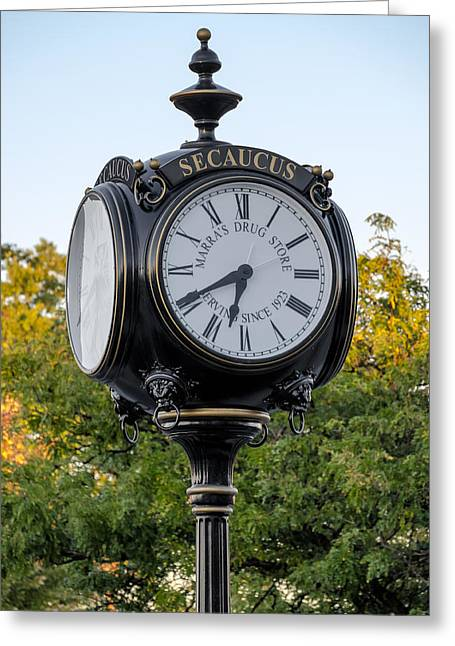 Secaucus Clock Marras Drugs Greeting Card by Susan Candelario