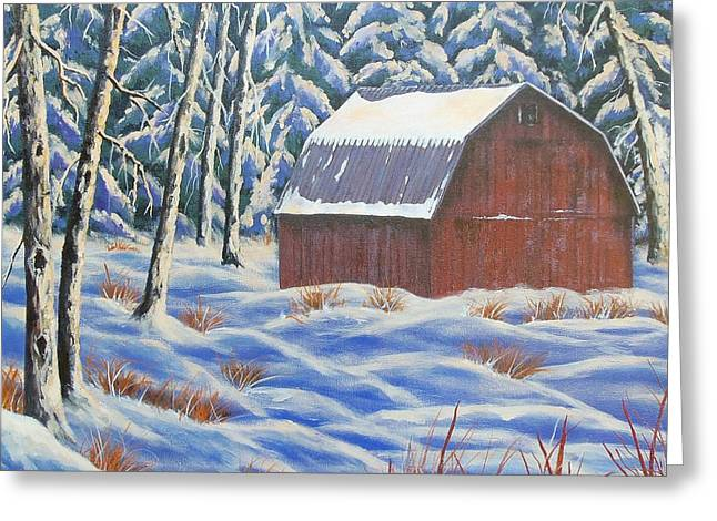 Greeting Card featuring the painting Secluded Barn by Susan DeLain
