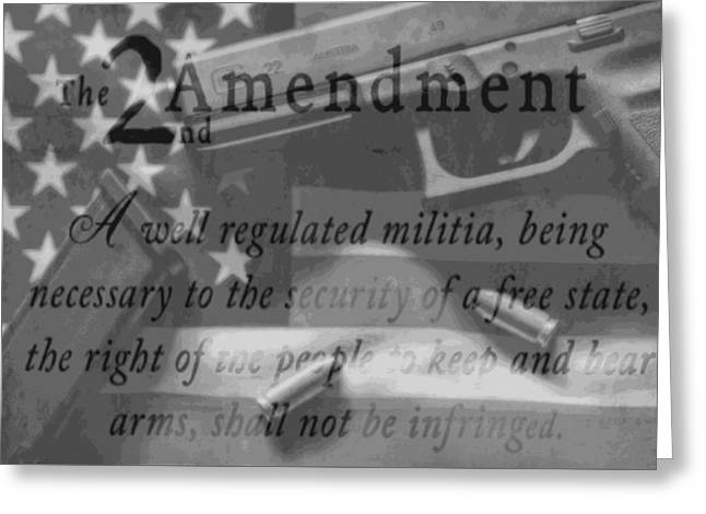 Second Amendment Black And White Greeting Card by Dan Sproul