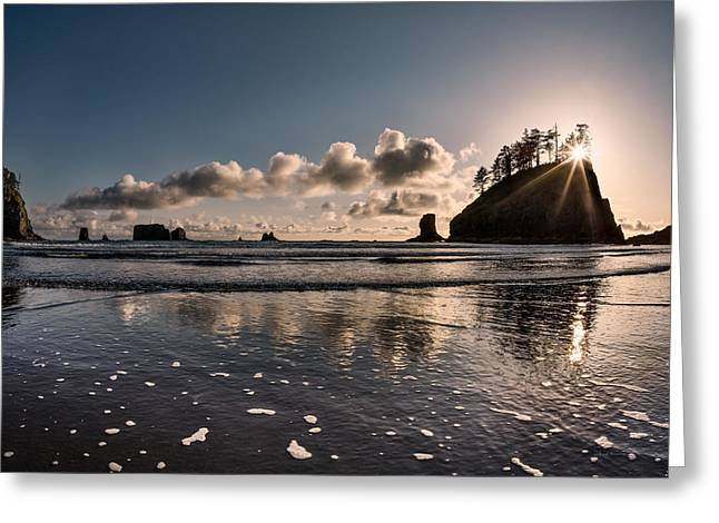 Second Beach Light And Current Greeting Card by Leland D Howard