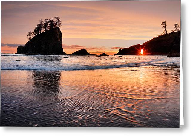 Second Beach Sunset Greeting Card by Leland D Howard