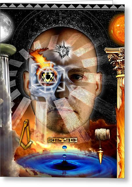 Second Degree Masonic Tracing Board Greeting Card by Gregory Stewart