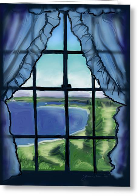 Second Floor Window Black Point Inn Greeting Card by Jean Pacheco Ravinski