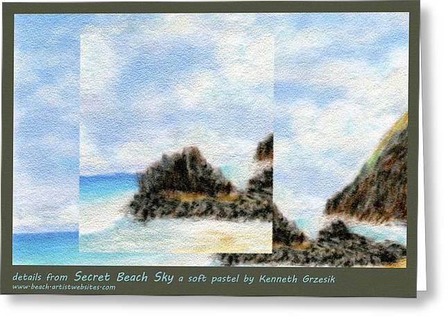 Secret Beach Sky Details Greeting Card by Kenneth Grzesik