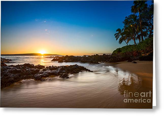 Secret Beach Sunset Greeting Card by Jamie Pham