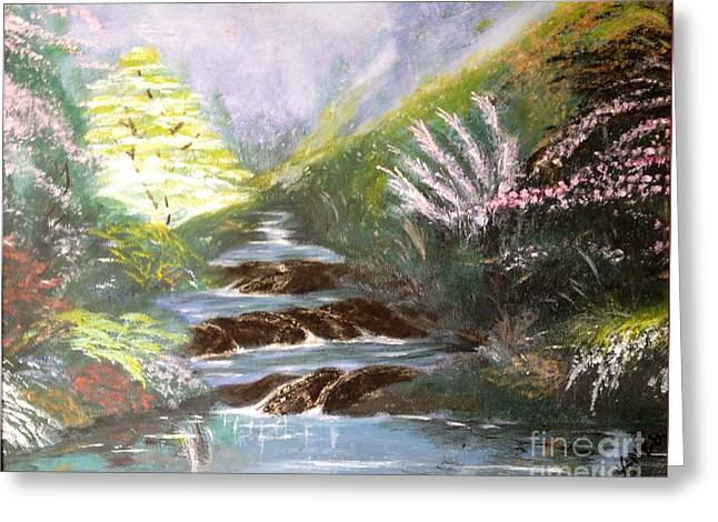 Greeting Card featuring the painting Secret Garden by Vanessa Palomino