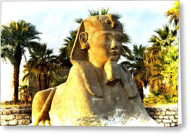 Secret Of The Sphinx Greeting Card by Brenda Kean