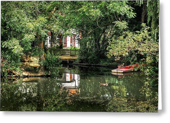 Secret Retreat - River Reflections Greeting Card by Gill Billington