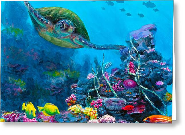 Secret Sanctuary - Hawaiian Green Sea Turtle And Reef Greeting Card by Karen Whitworth